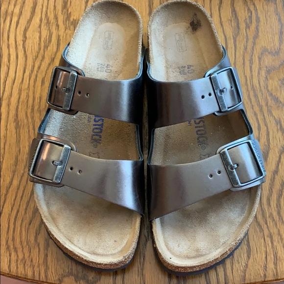 Birkenstock Arizona Metallic Anthracite Sandals